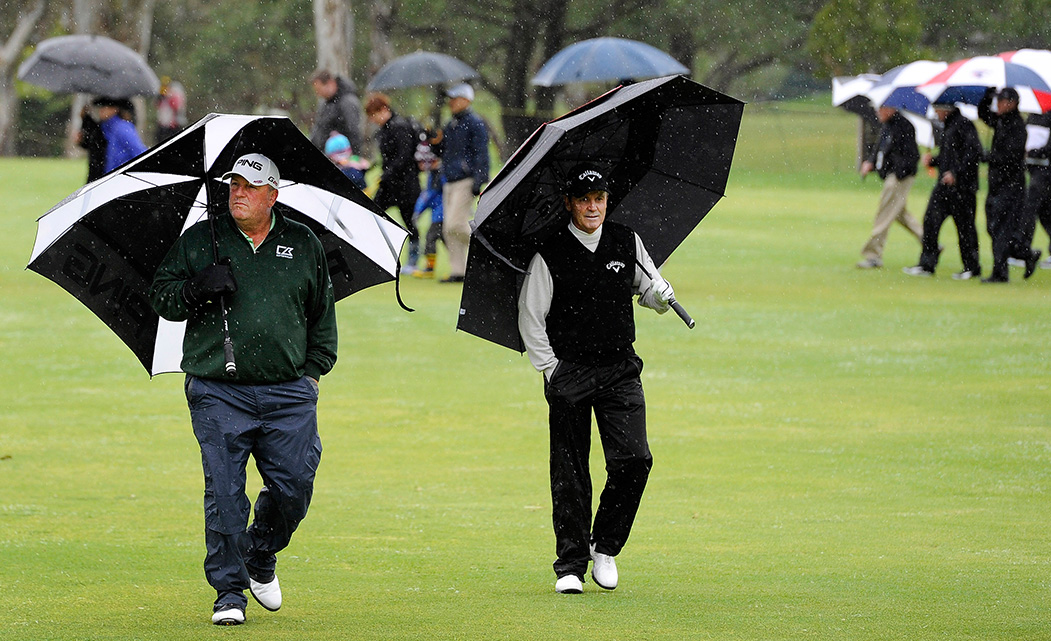 Mark McNulty Professional Golfer in the rain